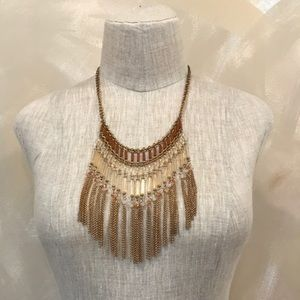 Urban Outfitters brown beaded bib necklace